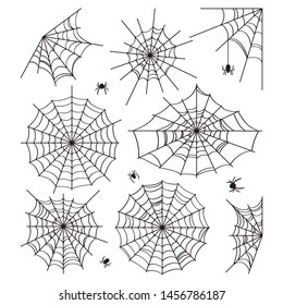 Cobweb collection isolated on white background. Scenery for Halloween. Silhouettes of spiders. Vector illustration.