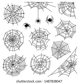 Cobweb. Halloween monochrome spiderweb and dangerous spider. Web silhouettes for creepy horror tattoo and decoration, vector net corner spooky frames set