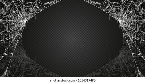 Cobweb isolated on black transparent background. Spiderweb. Vector illustration