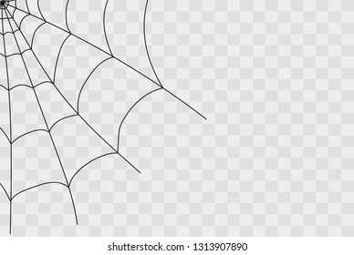 Cobweb isolated on white, transparent background. Cobweb elements, creepy, scary, horror halloween decor. Vector eps illustration Spider happy halloween party fun funny spooky logo