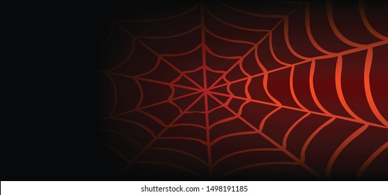 Cobweb on red black background. Vector Spider happy halloween party day fun funny spooky logo creepy horror insect hush dia 31 october fest Spiderman hallow Webbing line pattern Unlucky Accident web