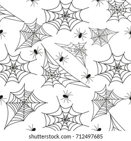 Cobweb seamless pattern background spider web halloween black vector insect design spiderweb horror danger trap scary silhouette arachnid. Spooky fear thread animal line creepy hanging netting.