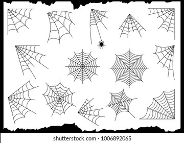 Cobweb set isolated on grunge vintage white background. Halloween spider elements. Vector illustration for spider design