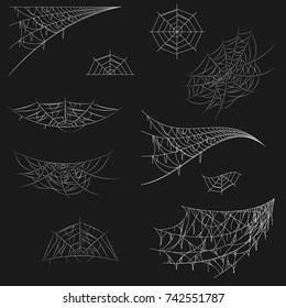 Cobweb set on black background. Spiderweb for Halloween design. Cobweb vector isolated