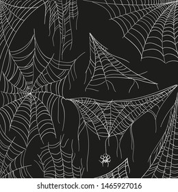 Cobweb set on black. Tangled spider white web for catching insects. Vector hand-draw cartoon illustration