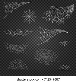 Cobweb set on transparent background. Spiderweb for Halloween design. Cobweb vector isolated