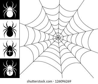 Cobweb spider on a white background. Silhouettes of spiders on a black and white background. Black-and-white illustration.