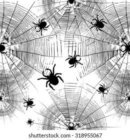 cobweb spider seamless background. Vector