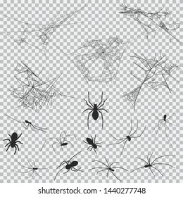 Cobweb and spider vector black silhouette set for Halloween isolated on a transparent background.