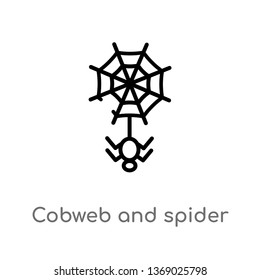 cobweb and spider vector line icon. Simple element illustration. cobweb and spider outline icon from web concept. Can be used for web and mobile