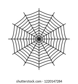 Cobweb. Spider's web. Gossamer. Black and white vector illustration.