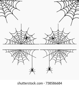 cobweb vector frame border and dividers Halloween isolated on white with spider web for spiderweb scary design and business card deeded