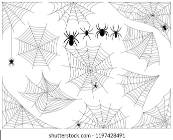 Cobwebs and spiders. Set of vector illustrations for scary design or Halloween. Web in the corners and in the center. Сollection of different cobwebs and spiders contours isolated on white.