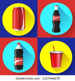 coca cola bottle icon soda bottle with red lable flat vector cola icon set