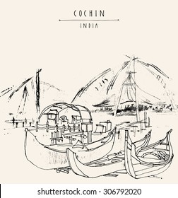"""Cochin, Kerala, India. Wooden boats and Chinese fishing nets on Vembanad lake. Travel sketchy freehand drawing. Vector touristic postcard poster coloring book page with """"Cochin, India"""" hand lettering"""