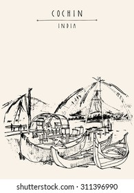 Cochin, Kerala, India. Wooden boats and Chinese fishing nets on Vembanad lake. Travel sketchy freehand drawing. Vector touristic postcard poster coloring book page with Cochin, India hand lettering
