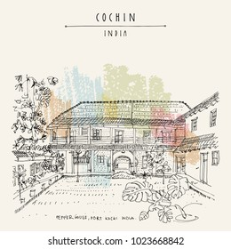 Cochin (Kochi), Kerala, South India. Pepper House. Heritage colonial building, monstera tropical plant in the garden. Famous historical landmark in summer. Vector hand drawn travel postcard