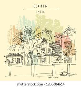 Cochin (Kochi), Kerala, South India. Straley House. Heritage colonial building. Famous historical landmark. Vintage hand drawn travel postcard. Vector illustration