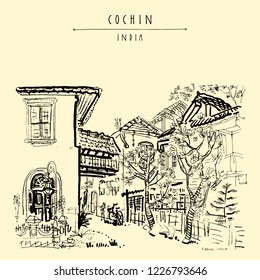 Cochin (Kochi), Kerala, South India. Old houses and tropical trees. Heritage colonial buildings, garden. Historical landmark in summer. Vector hand drawn travel postcard