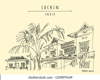 Cochin (Kochi), Kerala, South India. Straley House. Heritage colonial building. Famous historical landmark. Vintage hand drawn travel postcard. Vector illustration