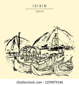 Cochin (Kochi), Kerala, South India.Chinese fishing nets and wooden boats. Historical landmark in summer. Vector hand drawn travel postcard