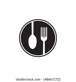 cochleare fork food logo vector
