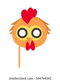 Cock Bird Carnival Mask Vector Illustration In Flat Style Rooster Chicken Hen Fowl Funny