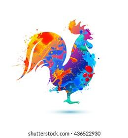 Cock bird. Splash paint