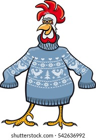 cock in a christmas sweater. Illustration of  rooster in  knitted christmas sweater