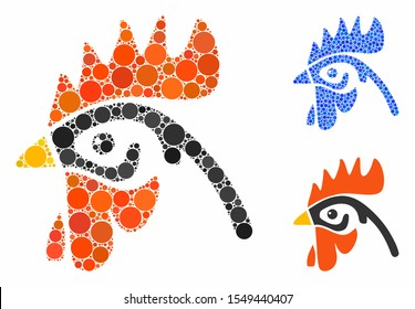 Cock head composition of circle elements in different sizes and color hues, based on cock head icon. Vector round elements are united into blue composition.