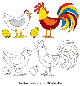 Cock and Hen family happy cartoon. Outlined illustration with thin line black stroke