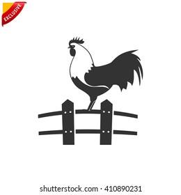 cock icon, vector chicken logo, isolated hen icon