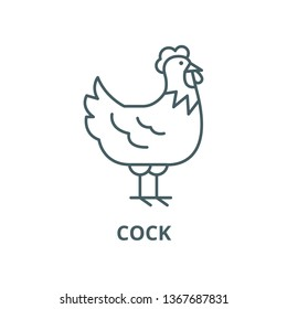 Cock line icon, vector. Cock outline sign, concept symbol, flat illustration