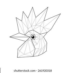 Cock. Low polygon linear vector illustration