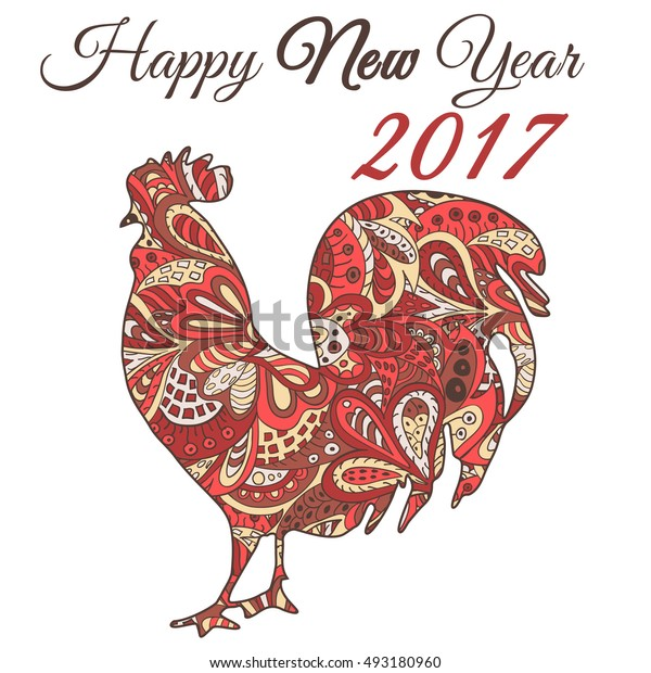 Cock. Symbol 2017. Red Rooster 2017. Oriental pattern. Ornament in red tones