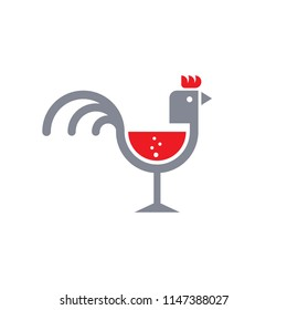 Cock Tails.Rooster.cocktail glass.Wine.Liquer.logo icon vector.