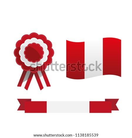Cockade Flag Peru Peruvian National Symbols Stock Vector Royalty