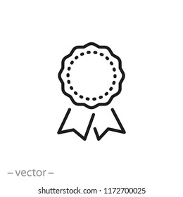cockade icon, award linear sign isolated on white background - editable vector illustration eps10