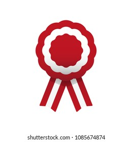 Cockade, rosette with ribbon, vector illustration. Red and white. Peruvian colors. Austria and Peru flag