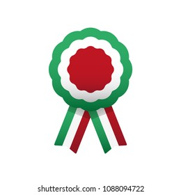 Cockade, rosette with ribbon, vector illustration. Italy and hungary colors symbol