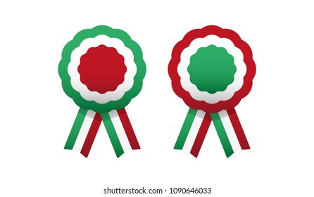 Cockade, rosette with ribbon, vector illustration. Italy, hungary colors