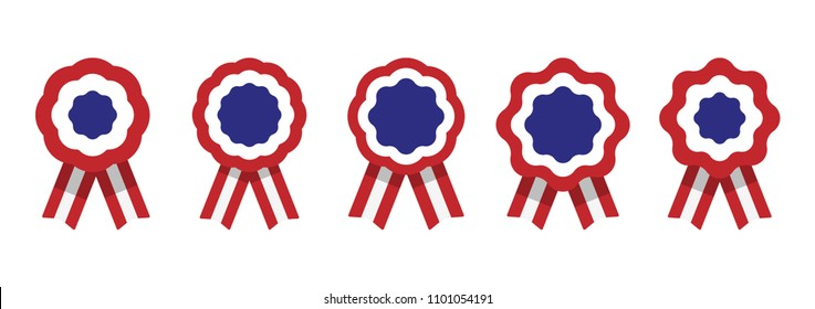 Cockade, rosette with ribbon, vector illustration, red, white and blue, united states flag