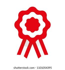 Cockade, rosette with ribbon, vector illustration, flag of Peru
