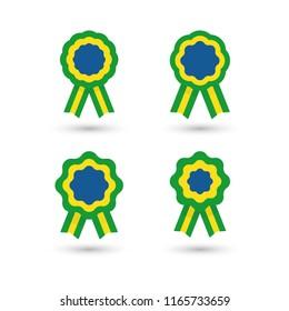Cockade, rosette with ribbon, vector illustration, flag of Brazil