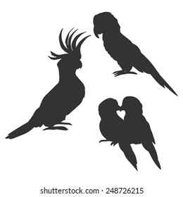Cockatoo, macaw and lovebirds parrots silhouettes
