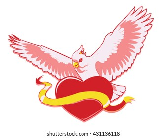 Cockatoo on heart vector logo.