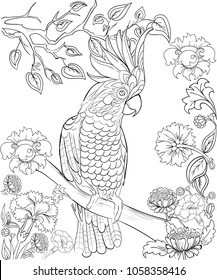 Cockatoo parrot for coloring book. Anti-stress coloring for adult. Tattoo stencil. Zentangle style. Black and white lines. Lace pattern. Vector illustration on white background.