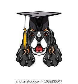 Cocker Spaniel dog graduate. Graduations hat cap. English Cocker Spaniel dog portrait. Dog breed. Vector illustration.