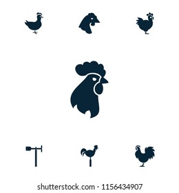 Cockerel icon. collection of 7 cockerel filled icons such as chicken, weather vane. editable cockerel icons for web and mobile.