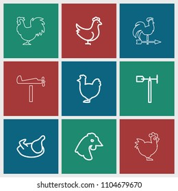 Cockerel icon. collection of 9 cockerel outline icons such as chicken. editable cockerel icons for web and mobile.